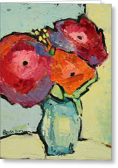Pallet Knife Greeting Cards - Melody of Love Greeting Card by Becky Kim