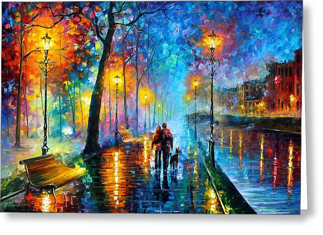 Cityscapes Greeting Cards - Melody Of The Night - Palette Knife Landscape Oil Painting On Canvas By Leonid Afremov Greeting Card by Leonid Afremov