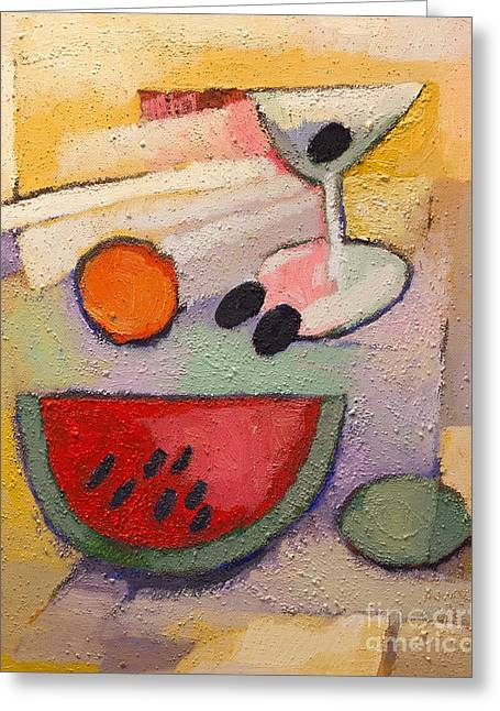 Melon Paintings Greeting Cards - Melon Martini Greeting Card by Lutz Baar