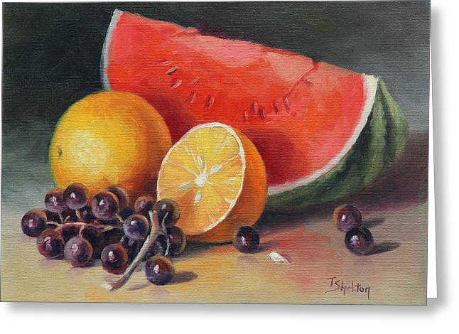 Recently Sold -  - Watermelon Greeting Cards - Melon Orange and Grapes Greeting Card by Theresa Shelton