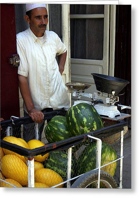 Melon Seller Old Medina Fez Morocco Greeting Card by Ralph A  Ledergerber-Photography