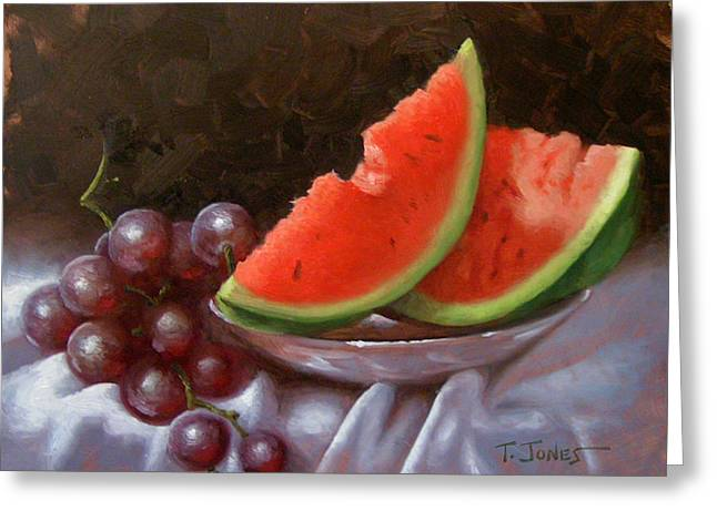 Watermelon Greeting Cards - Melon Slices Greeting Card by Timothy Jones