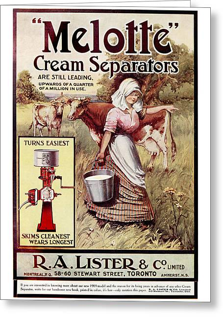 Journal Drawings Greeting Cards - Melotte Cream Separators 1909 Vintage Advertisement Greeting Card by Vintage Product Ads
