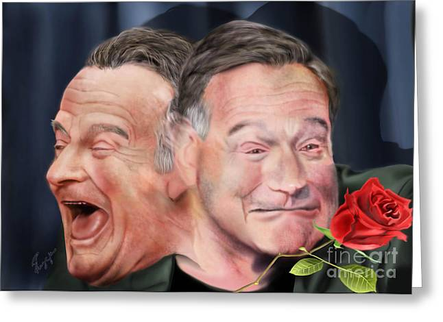 Comedian Greeting Cards - Melpomene and Thalia The duality of Robin Williams Greeting Card by Reggie Duffie
