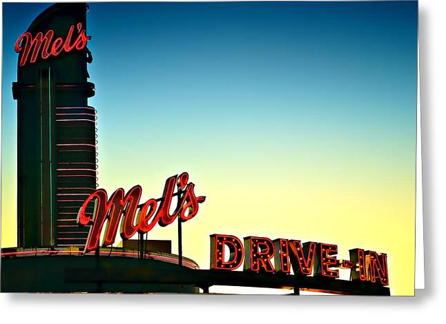Mels Drive-in Photographs Greeting Cards - Mels Greeting Card by Carol Eade