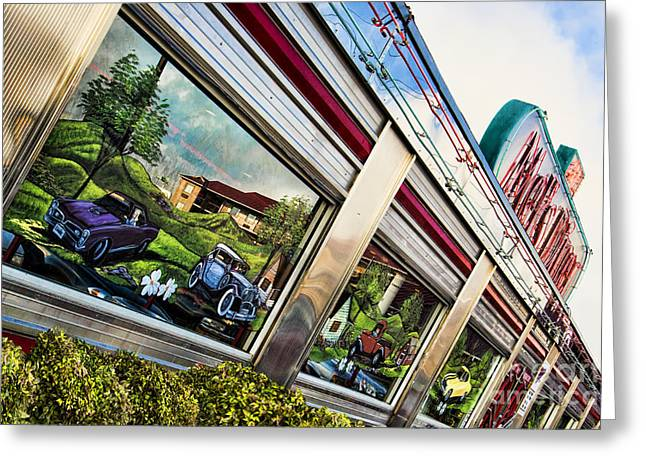Stainless Steel Greeting Cards - Mels Diner Greeting Card by Cindy Tiefenbrunn
