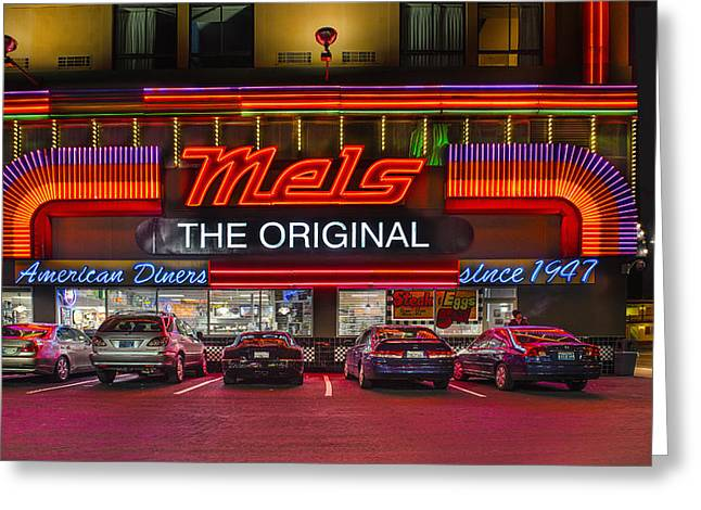 Mels Drive-in Photographs Greeting Cards - Mels Diner Greeting Card by Gary Warnimont