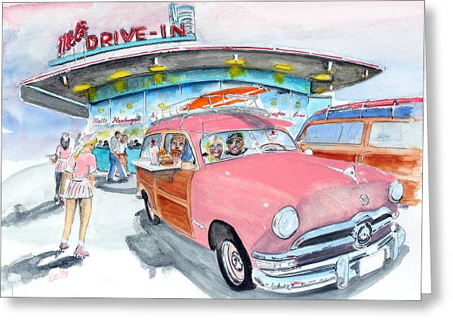 Roller Skates Paintings Greeting Cards - Mels Diner 1950 Ford Greeting Card by Rob Beilby