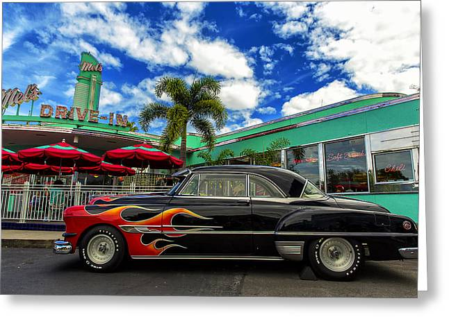 Mel's Drive In Greeting Card by Bill Tiepelman
