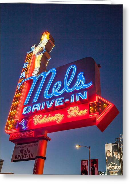 Mels Drive-in Photographs Greeting Cards - Mels Drive In  Neon Sign Greeting Card by Richard Nowitz