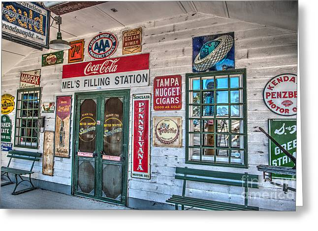 7up Sign Greeting Cards - Mels FIlling Station Greeting Card by Dale Powell