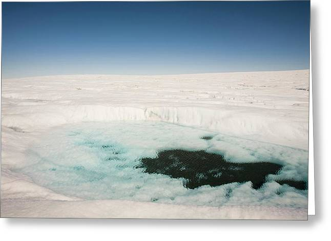 Melt Water On The Greenland Ice Sheet Greeting Card by Ashley Cooper