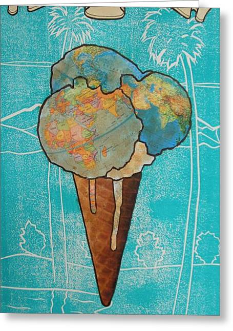 Recently Sold -  - Lino Greeting Cards - Melt With You Greeting Card by Philip Haxby Thompson