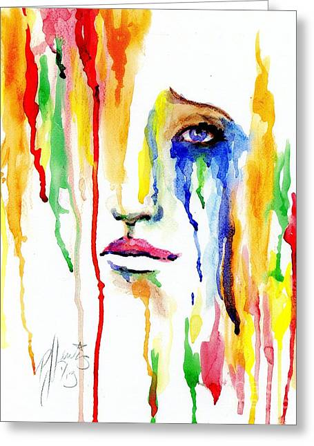 Woman Crying Greeting Cards - Melting Dreams Greeting Card by P J Lewis