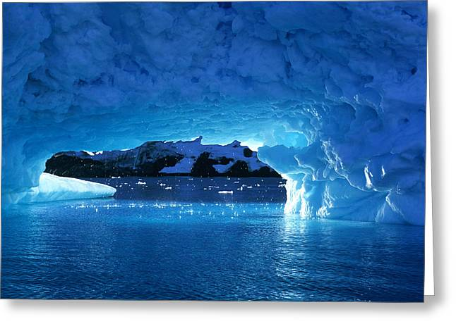 Dripping Water Greeting Cards - Melting Ice Cave Antarctica Greeting Card by Cliff Wassmann