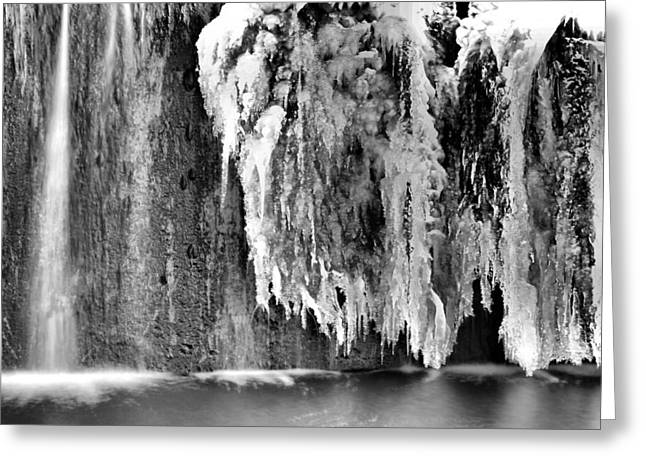 Snowstorm Greeting Cards - Melting Waterfall In Black And White Greeting Card by Dan Sproul