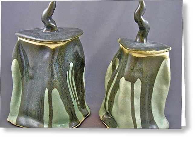 Pot Ceramics Greeting Cards - Meltings 05-010 and 11 Greeting Card by Mario Perron