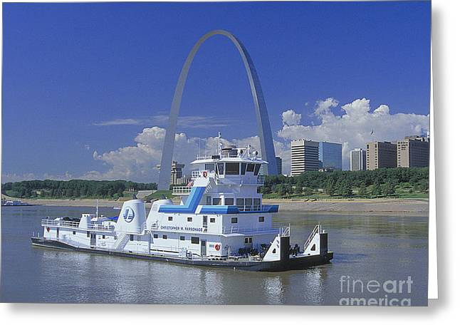 Memco Towboat In St Louis Greeting Card by Garry McMichael
