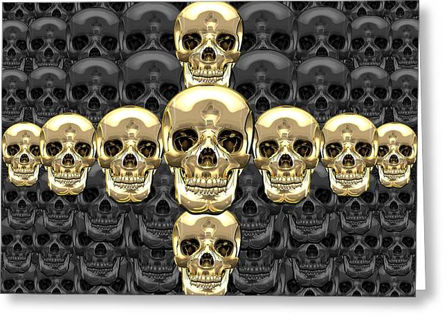 Detachment Greeting Cards - Memento Mori - Cross of Gold Human Skulls on Black Greeting Card by Serge Averbukh