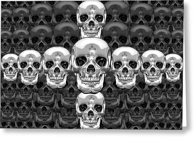 Detachment Greeting Cards - Memento Mori - Cross of Silver Human Skull on Black  Greeting Card by Serge Averbukh