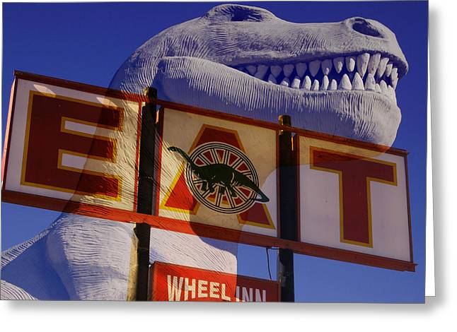 Trex Greeting Cards - Memorable Pit Stop Greeting Card by Gabe Arroyo