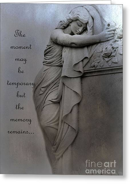 Coffin Greeting Cards - Memorial Art Statue - Haunting Cemetery Statue Inspirational Art Greeting Card by Kathy Fornal