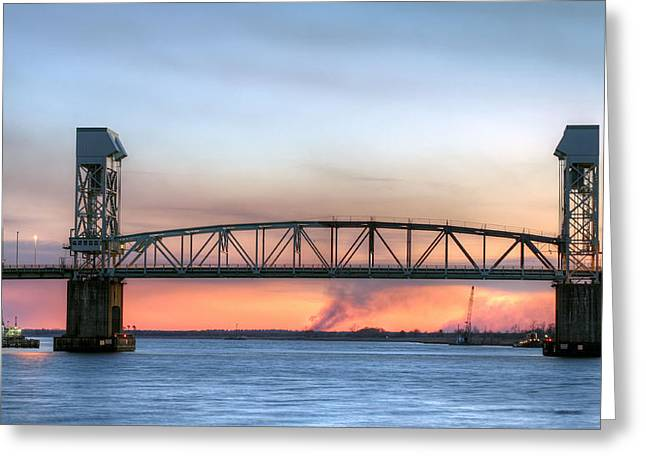 Cape Fear River Greeting Cards - Memorial Bridge Greeting Card by JC Findley