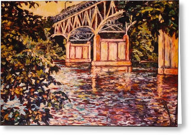 Memorial Bridge Greeting Card by Kendall Kessler