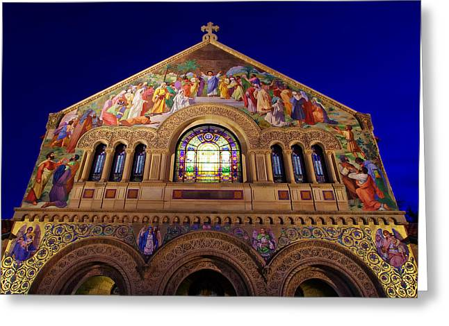 Alto Greeting Cards - Memorial Church at Night Greeting Card by Scott McGuire