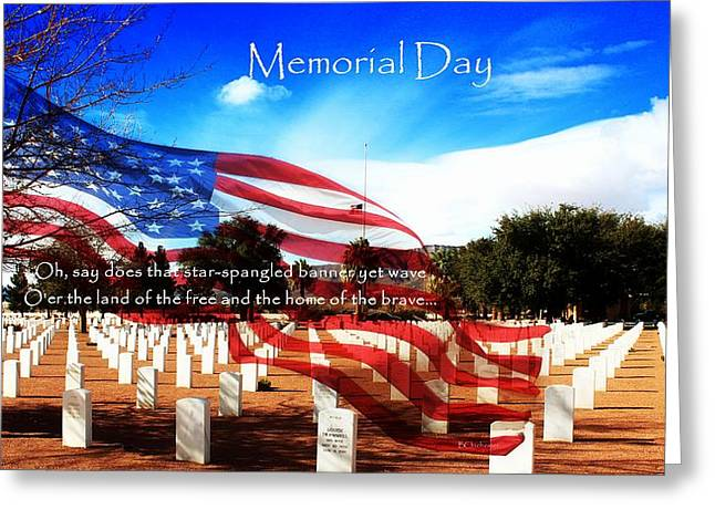 Soldiers National Cemetery Digital Art Greeting Cards - Memorial Day Greeting Card by Barbara Chichester