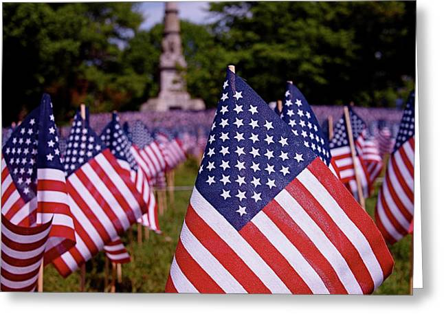 Memorial Day Flag Garden Greeting Card by Rona Black
