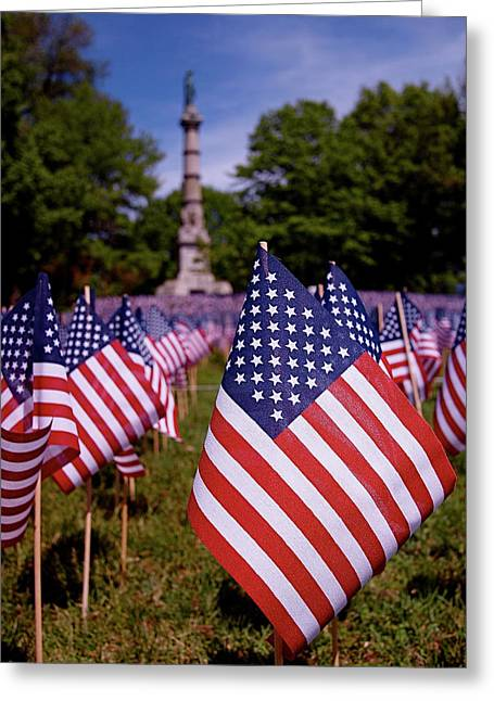 Red White And Blue Greeting Cards - Memorial Day Flag Garden Greeting Card by Rona Black