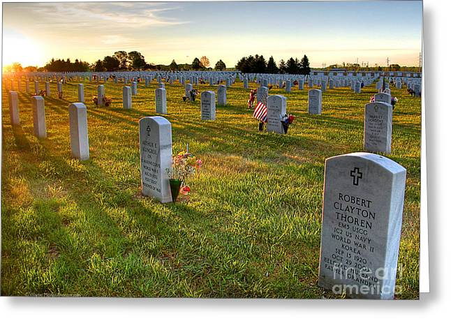 Bravery Greeting Cards - Memorial Day Fort Snelling National Cemetery Greeting Card by Wayne Moran