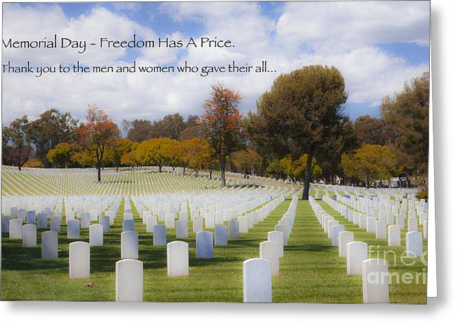 Servicewoman Greeting Cards - Memorial Day - Freedom Has A Price Greeting Card by Jerry Cowart