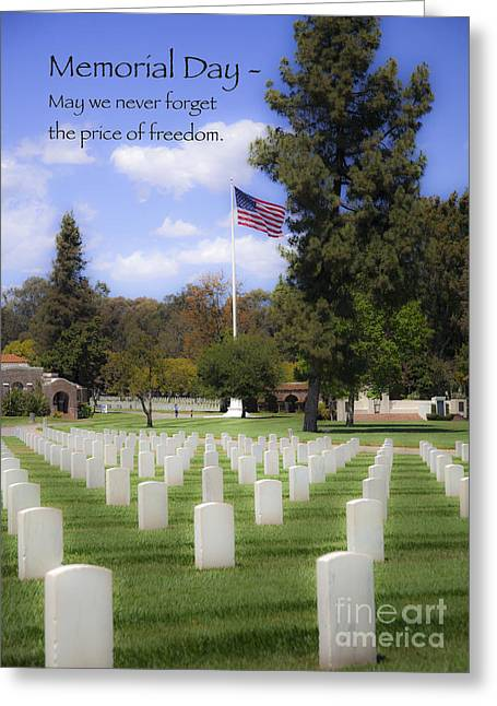 Servicewoman Greeting Cards - Memorial Day - May We Never Forget The Price of Freedom Greeting Card by Jerry Cowart