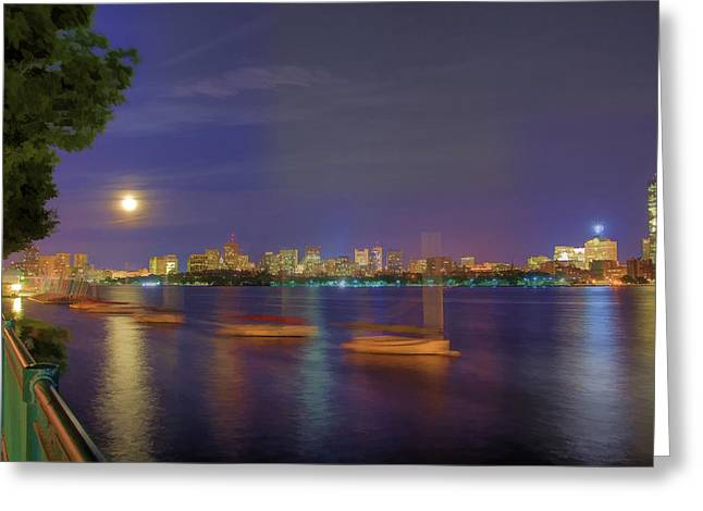 Moonglow Greeting Cards - Memorial Drive - Cambridge Greeting Card by Joann Vitali