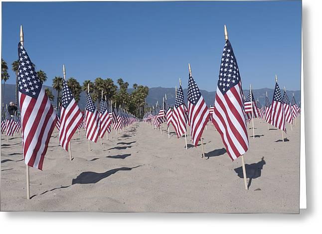 September 11th Attacks Greeting Cards - Memorial for 911 Santa Barbara CA Greeting Card by David Litschel