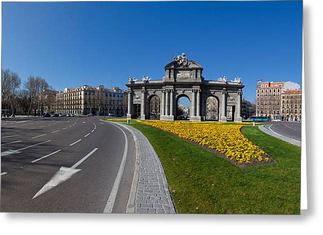 Flower Memorial Photography Greeting Cards - Memorial Gate In A City, Alcala Gate Greeting Card by Panoramic Images