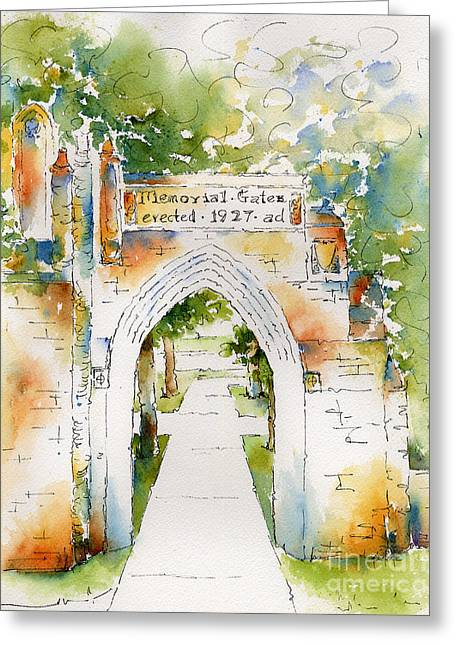 Sienna Greeting Cards - Memorial Gates Greeting Card by Pat Katz