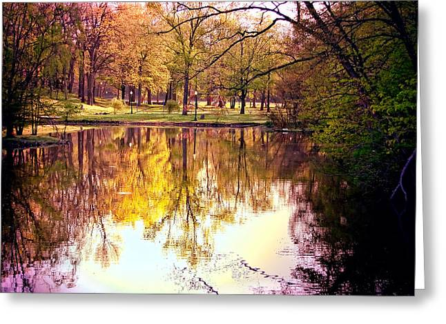 Indiana Autumn Greeting Cards - Memorial Park - Henry County Greeting Card by Mark Orr