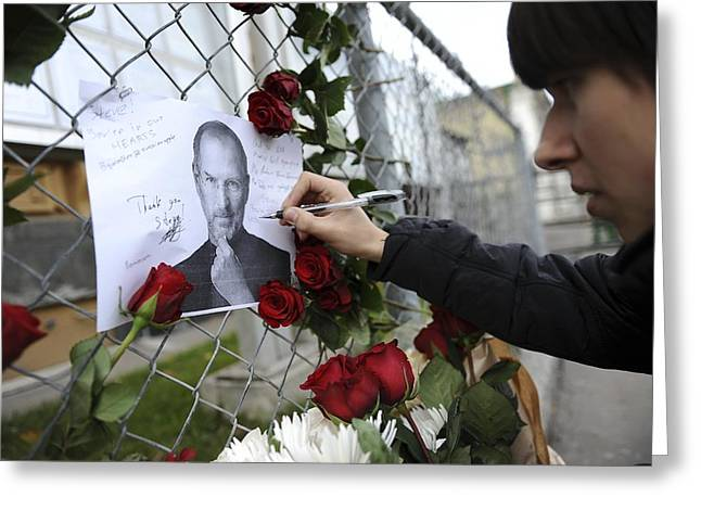 Condolences Greeting Cards - Memorial to Steve Jobs Greeting Card by Science Photo Library