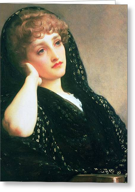 Black Widow Paintings Greeting Cards - Memories Greeting Card by Frederic Leighton