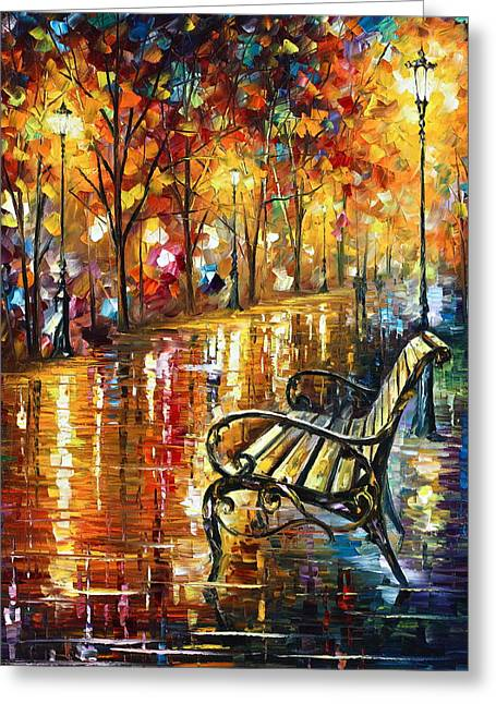 Park Benches Paintings Greeting Cards - Forgotten Dream Greeting Card by Leonid Afremov