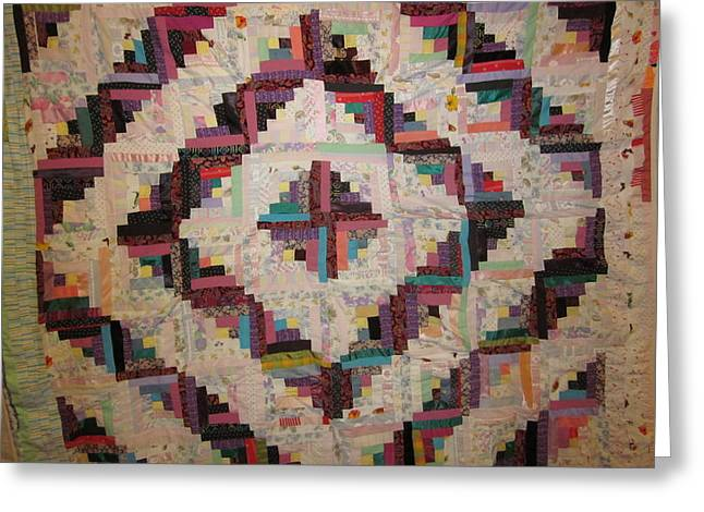 Log Cabin Tapestries - Textiles Greeting Cards - Memories Greeting Card by Linda Goss