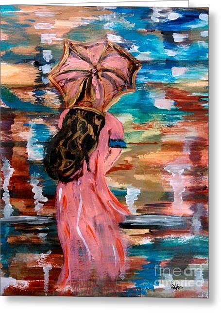Reflecting Water Drawings Greeting Cards - Memories Greeting Card by Lori  Lovetere
