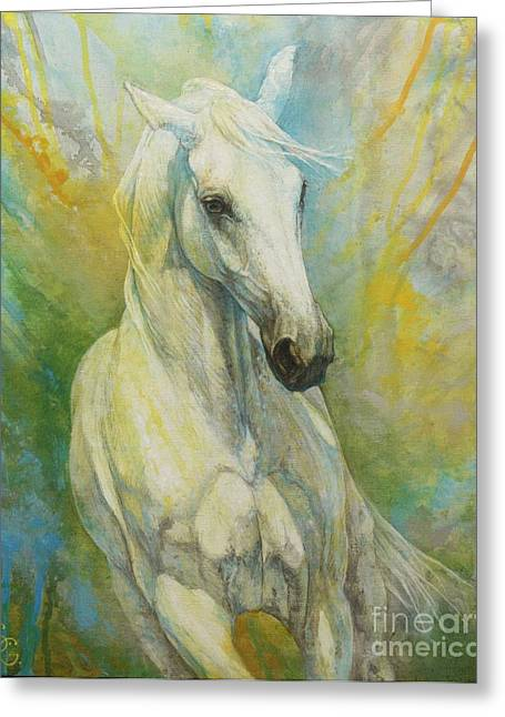 Horse Artist Greeting Cards - Memories of a grass leaf Greeting Card by Silvana Gabudean