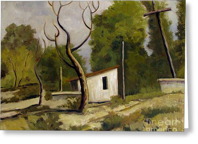 Outbuildings Paintings Greeting Cards - Memories of Canyon Road Santa Fe Greeting Card by Charlie Spear