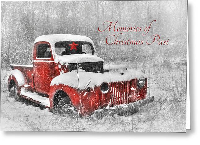 Old Trucks Digital Greeting Cards - Memories of Christmas Past Greeting Card by Lori Deiter