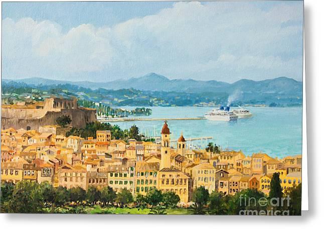 Urban Images Paintings Greeting Cards - Memories of Corfu Greeting Card by Kiril Stanchev