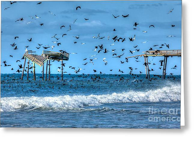 Storm Prints Greeting Cards - Memories of Frisco Pier - Outer Banks I Greeting Card by Dan Carmichael